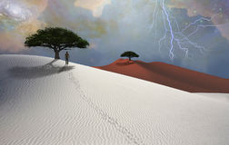 Desert. White desert. Lightning in the sky. Green trees. Figure of man in a distance. This image created in entirety by me and is entirely owned by me and is Stock Photo