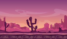 Desert wild cartoon landscape in sunset with cactus, hills and mountains. Game seamless vector background Stock Image