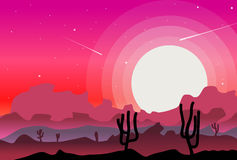 Desert wild nature landscapes with cactus  background vector Stock Photography