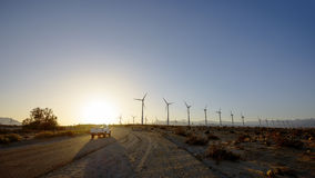 Desert Wind Farm Road Royalty Free Stock Photography