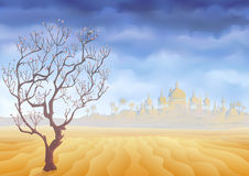 Desert withering tree and an ancient castle mirage vector illustration