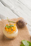 Desert with yogurt and passion fruit Stock Photography
