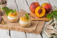 Desert with yogurt and passion fruit Royalty Free Stock Images