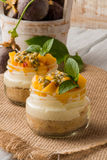 Desert with yogurt and passion fruit Royalty Free Stock Photos
