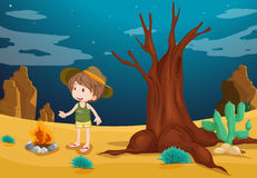 A desert with a young boy. Illustration of a desert with a young boy Stock Photos