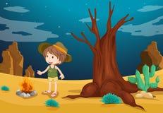 A desert with a young boy Stock Photos