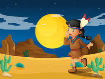 A desert with a young Indian Stock Images
