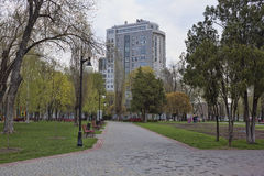 On a deserted alley in a park on the waterfront in Kharkiv. KHARKIV, UKRAINE - APRIL 26, 2015: On a deserted alley in a park on the waterfront in Kharkiv Royalty Free Stock Images
