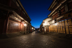 Deserted alley in a traditional Chinese town. In the early morning Royalty Free Stock Photo