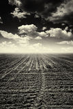 Deserted arable land. Deserted plowed field or ploughland, black and white image Stock Photography