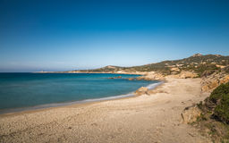 Deserted Arinella beach in Balagne region of Corsica Royalty Free Stock Images