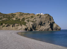 Deserted beach. Called Agios Mina on the island of Karpathos, Greece. There is a greek Chapel on top of the mountain stock photos
