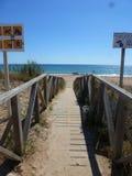 Deserted beach. Beginning of the summer season in Spain stock image