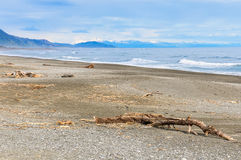Deserted beach close to Punakaiki, New Zealand Royalty Free Stock Image