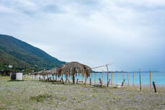 Deserted beach in Gagra, Abkhazia. Royalty Free Stock Photography