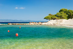 Deserted beach in greece Stock Photography