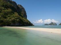 Deserted beach in the gulf of thailand. Idealic beach bay in the gulf of thailand Stock Photos