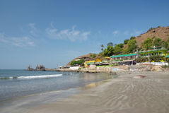 Deserted beach with huts. In Goa, India Royalty Free Stock Images