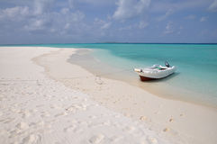 Deserted Beach In The Maldives Stock Images