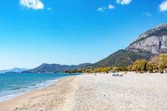 Almost deserted beach of Kambos, Samos Island, Greece stock photo