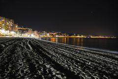 Deserted Beach at Night Stock Photo