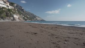 Deserted beach in Positano stock footage