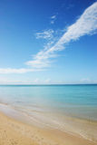 Deserted Beach. Southwestern most view of Combate Beach, Cabo Rojo, Puerto Rico.  A view directly to the Inner Caribbean Sea Royalty Free Stock Photography