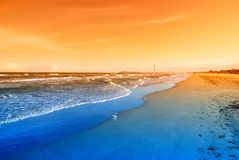 Deserted beach at sunset Royalty Free Stock Image