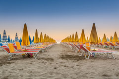 The deserted beach before sunset Stock Photography
