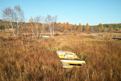 Deserted boat in withered grass beside forest. A deserted boat is in a withered grass in an autumn morning Stock Photo