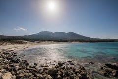 Deserted Bodri beach in Corsica with rocky shoreline Stock Photos