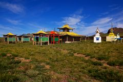 A deserted Buddhist temple in northern Mongolia. Royalty Free Stock Photo