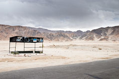Deserted bus stop in Ladakh Royalty Free Stock Image