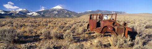 Deserted Car. With Cow Skeleton, Great Basin, Nevada Stock Photo