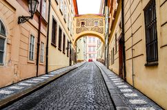 Deserted city street. Europe. stock photo