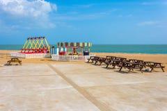 Closed fun fair. Deserted closed fair ride on empty promenade royalty free stock photography