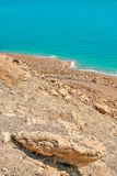 Deserted coast on Dead Sea in Israel. Vertical oriented image on rocky slope and deserted coast on Dead Sea in Israel Royalty Free Stock Photo