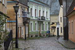 Deserted cobbled la via in Kamianets-Podilskyi Fotografia Stock
