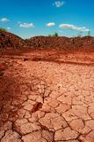 Deserted cracked ground near open-cast in Kryvyi Rih. Deserted red soil on the territory of open-cast mine in Kryvyi Rih, Ukraine. Landscape of cracked red royalty free stock photo