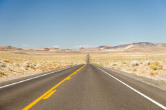 Deserted desert highway Nevada Stock Photo
