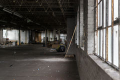Deserted Dilapidated Factory in Ruin Stock Photos