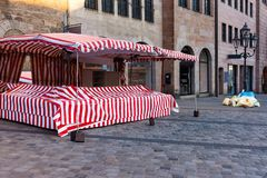 Deserted early morning on the main square in the city of Nuremberg stock photo