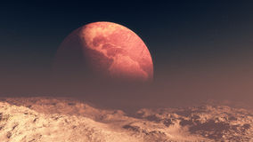 Deserted Earth In The Horizon Of Moon Royalty Free Stock Image