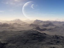 Deserted earth with planets in background. 3d generated landscape: deserted earth with planets in background Royalty Free Stock Photo