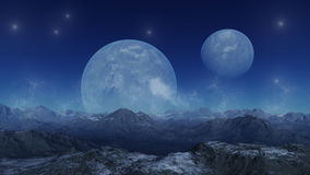 Deserted earth with planets. 3d rendered landscape: deserted earth with planets Royalty Free Stock Images