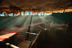 Deserted Ethiopian bar. In the Omo Valley, southwest Ethiopia, the afternoon sun streams into a deserted bar Stock Photo