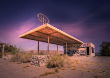 Deserted gas station on the border of Arizona and California, Stock Photo