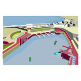 Deserted harbor. By the sea stock illustration