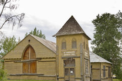 Deserted historic church in Dawson City, Yukon, Canada Stock Photo