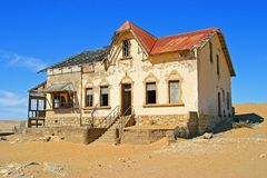 Deserted house. In the Namib desert ghost town Kolmanskoppe, managers house Royalty Free Stock Image